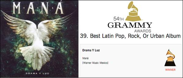 Maná Wins Best Latin Pop, Rock or Urban Album At The GRAMMY's®