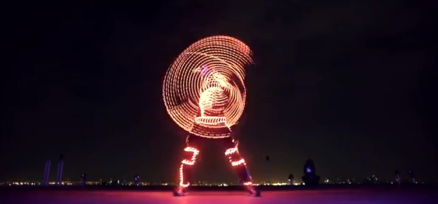 Video- Guys in LED Light Suites Freerunning [Cool Stuff]